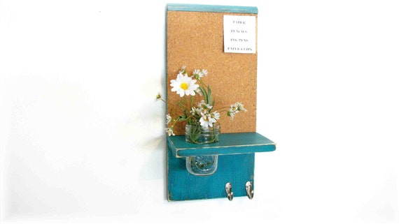 Wood  Cork Board Message  Center Hooks Dark Turquoise Color Shabby Chic