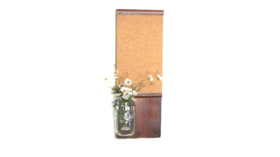 WoodlShelf Cork Board Maison Jar Message  Center Mahogany Wine Color