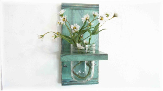 Spring Flowers Primitive Country Mint Chip Green  wood Cottage Wall Shelf