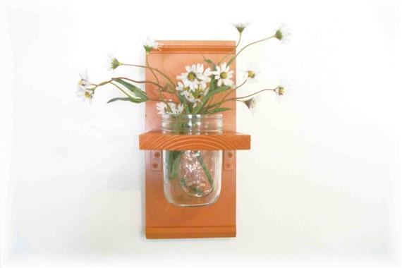 Spring Flowers Primitive Country Summer Bold Orange  Wood  Cottage Wall Shelf