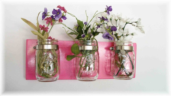 Spring Flowers Flowers,  & Flowers. Mason Jars, High Gloss Hot Flower Power Pink  Cottage Rustic Shelf