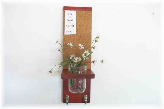 Wood Kitchen Hall  Cork Bulletin Board Center Hooks Barn Red Color  Country