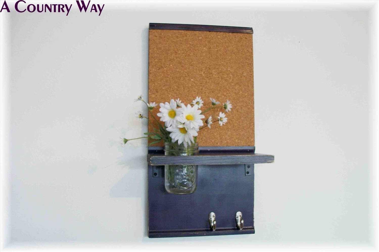 Wood Wall Shelf Cork Board Message Center Hooks Deep Grape
