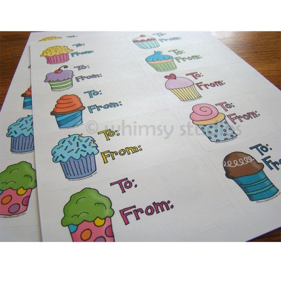 Cupcake gift tag stickers
