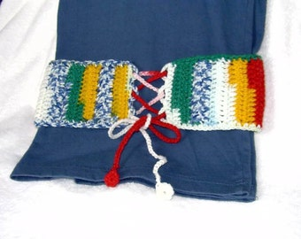 Lace Up Crocheted Belt Multicolor