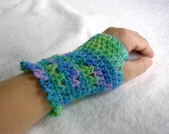 Crocheted Wrist Warmers and Scarf Set, multicolor Hippi Hot