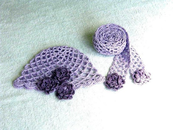 Lilac Crocheted Cloche with Roses and Scarf Sash Set