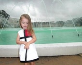 Retro 1965 Inspired  Red or Pink color block dress- Valentine, children clothing-girls