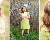 Retro 1960s Style  Layla dress with bib and ruffles-children clothing
