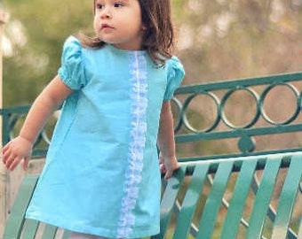 SALE!!!Retro 1967 Inspired Adorable Blue Ruffle  Katie dress-children clothing-girls dresses