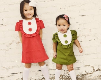 Retro 1960s Style Linen Layla dress with bib and ruffles-children clothing-girls dresses