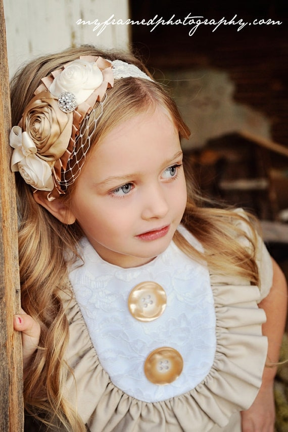 Retro Layla in light tan linen with lace bib and ruffles-children clothing