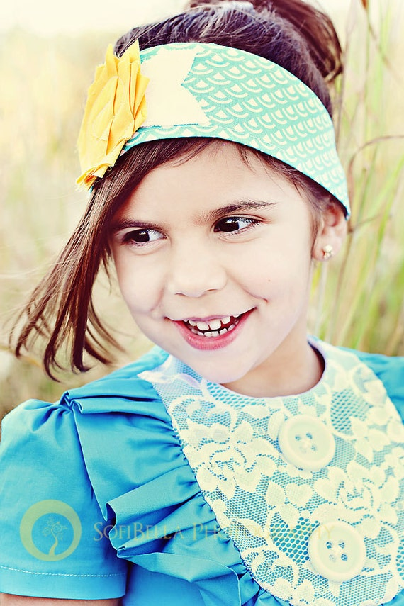 Retro Layla in Turquoise Linen ruffle and Lace-children clothing-girls dresses