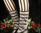 Military Spats Steampunk Victorian Gray Lace-Up Ankle Wrap Gaiters - Hexotica