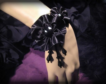 Black Cuff Bracelet, Rose Corsage Bracelet, Gothic Lace Bracelet FREE SHIPPING