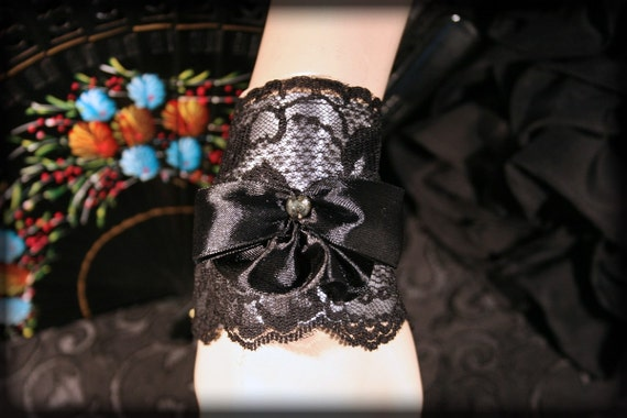 Gothic Lolita Lace Cuff Bracelet, Black Lace and SILVER Satin Cuff Bracelet, FREE SHIPPING