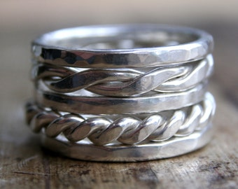 Men's Sterling Silver Stack Rings