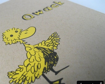 Qwack Yellow Duck 5 pack Hand Screen Printed Greeting Cards