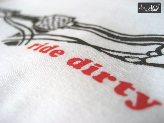 Ride Dirty Brown Mountain Bike Screen Print on White American Apparel T Shirt - Unisex sizes