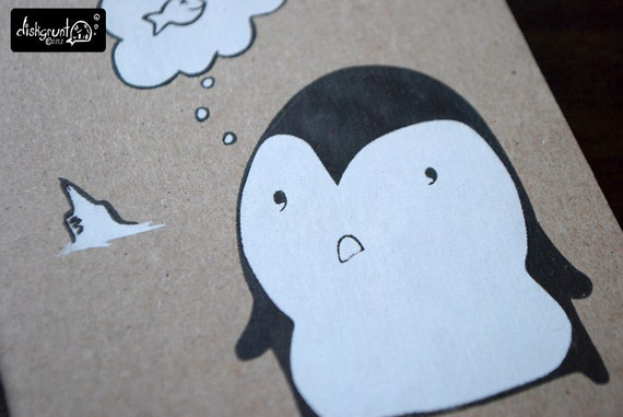 Penguin Thoughts - Cute Hand Screen Printed Pocket Notebook