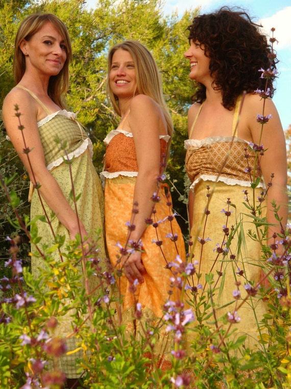 elyse SIGNATURES Citrus Grove Dress Eyelet Lace Skirt Designer Green Yellow Vintage Retro by elyse oRiGiNaLs