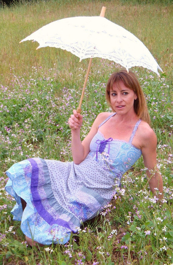 Purple Hippie Dress Vintage Lace Cotton Spring Summer Festival Sundress Women Pocket Skirt Designer elyse oRiGiNaLs