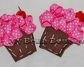 M2MG CUPCAKE BOUTIQUE HAIR CLIPS HAIRBOWS CUPCAKES WITH SPRINKLES