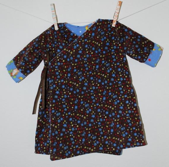 Infant Girls Corduroy and Flannel Reversible Kimono Jacket