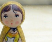 Tiny Muse Fairy Yellow Wooden Peg People Doll Blue Eyes