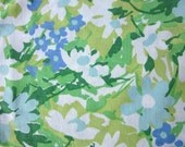 Vintage Sheet Fat Quarter Green Blue Floating Flowers