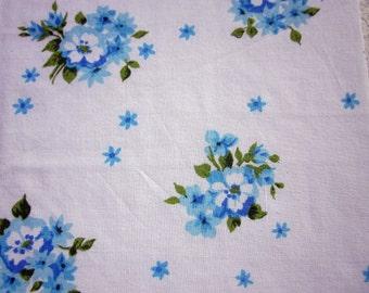 Vintage Sheet Fat Quarter Blue Flowers