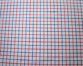 Vintage Sheet Fat Quarter Red White Blue Plaid