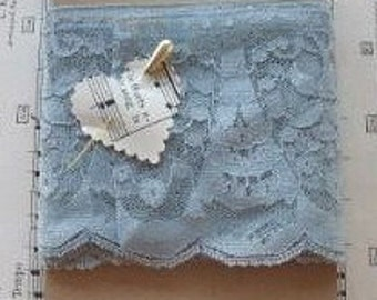 2 Yards Light Blue Lace Trims Stretch Lace 4 inches Wide
