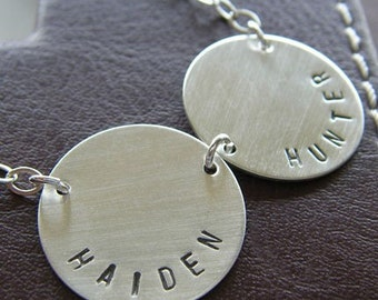 Custom Necklace - Personalized Sterling Silver Hand Stamped Charm Jewelry - Connect Duo