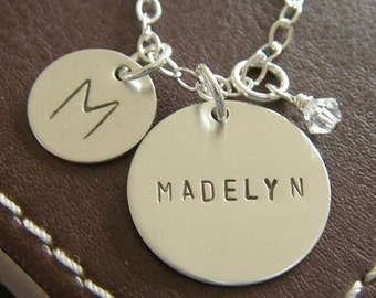 Personalized Charm Necklace - Custom Sterling Silver Hand Stamped Jewelry - Two Discs with Optional Birthstone or Pearl