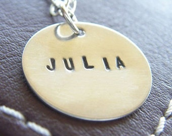 """Custom Sterling Silver Necklace - Personalized Hand Stamped Charm Jewelry - 3/4"""" Charm with Optional Birthstone or Pearl"""