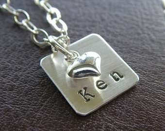 Hand Stamped Necklace - Personalized Sterling Silver Charm Jewelry - Half Inch Square with Petite Puff Heart Charm