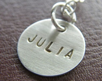 Custom Necklace - Personalized Sterling Silver Hand Stamped Charm Jewelry - Single Half Inch