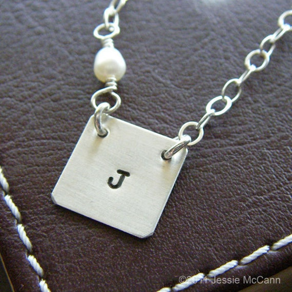 Custom Initial Necklace - Hand Stamped Sterling Silver - Personalized Charm Jewelry - Square Connect Pendant, Optional Birthstone or Pearl