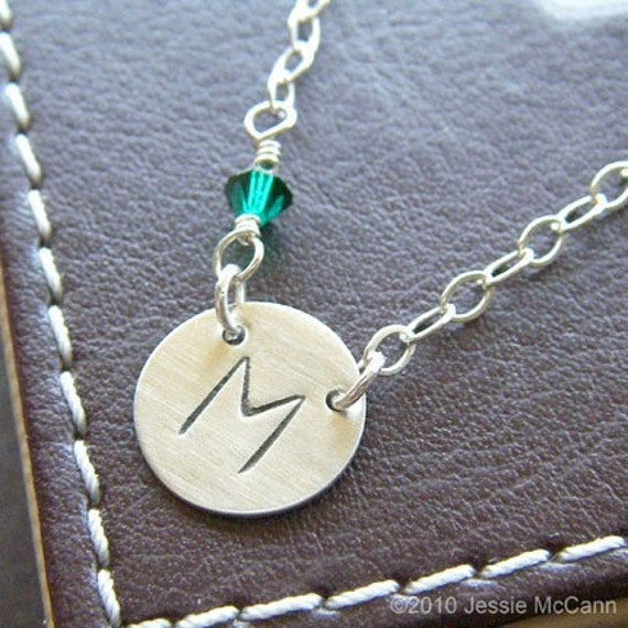 Personalized Initial Necklace - Custom Hand Stamped Sterling Silver Charm Jewelry - Connect (Large Initial) with Birthstone or Pearl