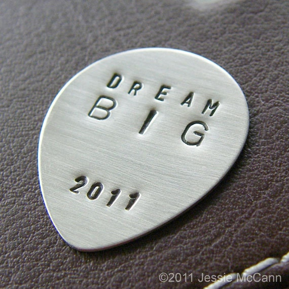 Custom Guitar Pick - Personalized Hand Stamped Sterling Silver Pick - Perfect Gift for Grads and Dads