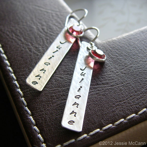 Personalized Bar Earrings - Hand Stamped Sterling Silver - 1.5 Inch Custom Textured Bar Earrings with Optional Birthstone Drops