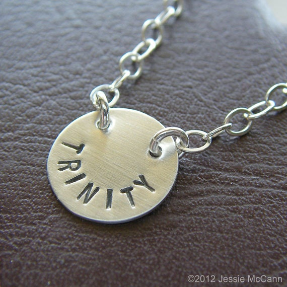 Custom Necklace - Personalized Sterling Silver Hand Stamped Charm Jewelry - Connect (Name)