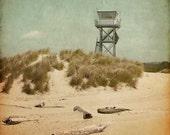 Beach Photography, lifeguard tower, landscape photograph, nautical nursery, wall art, Oregon decor, aqua