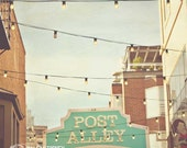 Seattle Photography, Post Alley, sign, brick buildings, architecture, Seatlle decor, print, farmers market, red