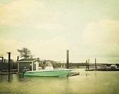 Teal Green Boat At Dock Photograph, harbor, vintage nautical wall art, home decor - 8x10