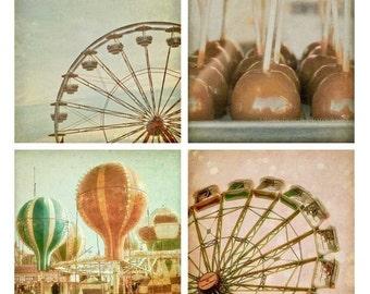 Carnival Photography Set - whimsical, pastel, wall art - ferris wheel, hot air balloons, caramel apples, 4x4 prints