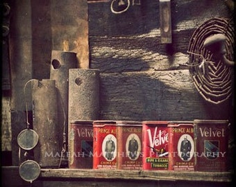 Red Tobacco Tins Vintage Photography, black brown white wall decor - 8x8 photo