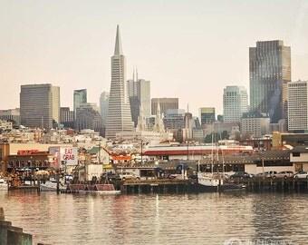 San Francisco City Harbor Photography - modern home decor print - pastel, soft colors