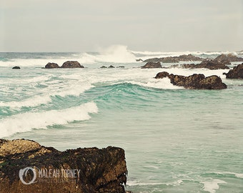 Ocean at Pebble Beach Photography -  nautical  home decor print, aqua blue, beige